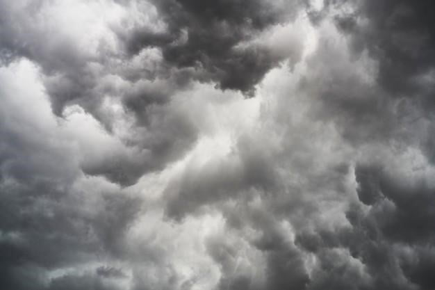 Collection of white and grey clouds in the sky